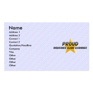 Proud Insurance Claim Examiner Business Card
