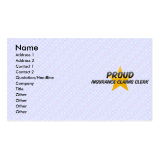 Proud Insurance Claims Clerk Business Card Template
