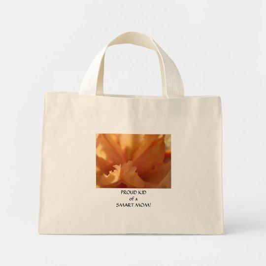 PROUD KID SMART MOM Canvas Tote Bag Iris Flower