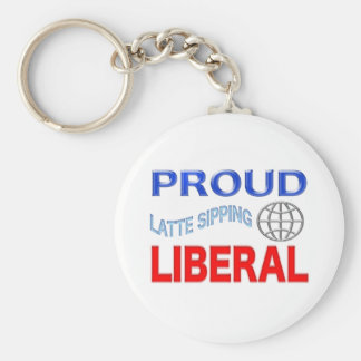 Proud Liberal! Personalize Background. Basic Round Button Keychain
