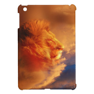 Proud lion face in sunset clouds iPad mini cases
