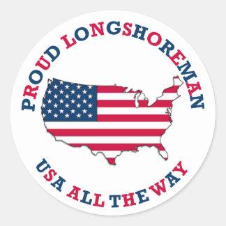 Proud Longshoreman Patriotic Round Sticker