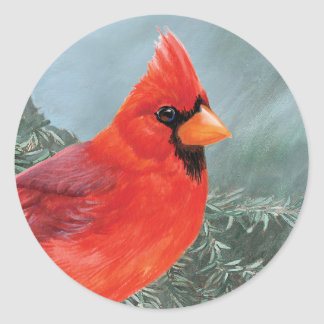 Proud Male Cardinal Classic Round Sticker