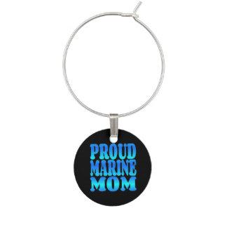Proud Marine Mom Wine Charm