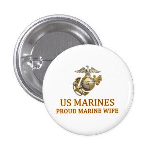 Proud Marine Wife 1 Inch Round Button