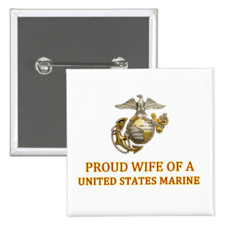 Proud Marine Wife 2 Inch Square Button