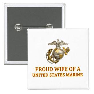 Proud Marine Wife Pinback Button