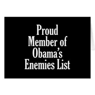 Proud Member of Obama's Enemies List Greeting Cards