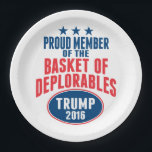 "Proud Member of the Basket of Deplorables - Trump Paper Plate<br><div class=""desc"">A funny take on the insult that Hillary called Trump supporters.</div>"