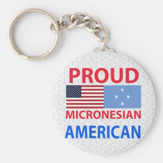 Proud Micronesian American Basic Round Button Keychain