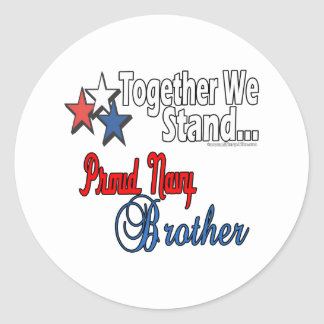 Proud Military Brother Classic Round Sticker