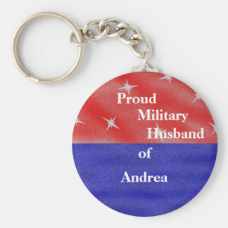 Proud military husband of ______________ keychain