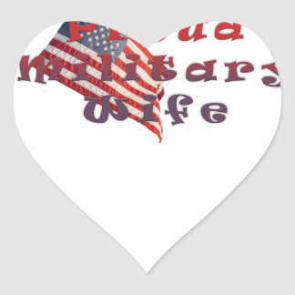 Proud Military Wife Heart Sticker