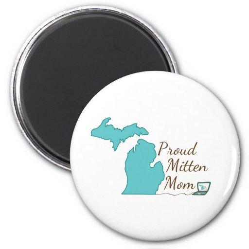 Proud Mitten Mom 2 Inch Round Magnet