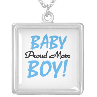 Proud Mom Baby Boy Gifts Square Pendant Necklace