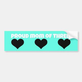 proud mom bumper sticker!  (three kids) bumper sticker