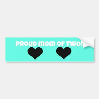 proud mom bumper sticker!  (two kids) car bumper sticker