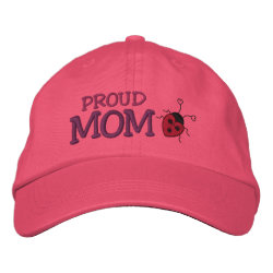 Proud Mom Ladybug Embroidered Baseball Cap