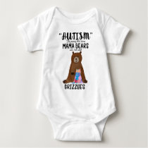 Proud Mom Mama Bear Rock Solid Grizzlies Autism Baby Bodysuit