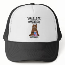 Proud Mom Mama Bear Rock Solid Grizzlies Autism Trucker Hat