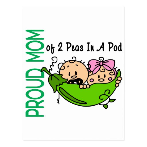 Proud Mom Of 2 Peas In A Pod VERSION 3 Postcard