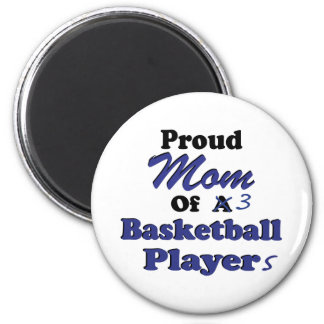 Proud Mom of 3 Basketball Players 2 Inch Round Magnet