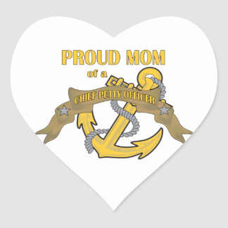 Proud Mom of a Chief Petty Officer Heart Sticker