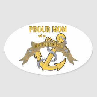 Proud Mom of a Chief Petty Officer Oval Sticker