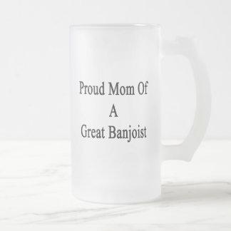 Proud Mom Of A Great Banjoist Glass Beer Mug