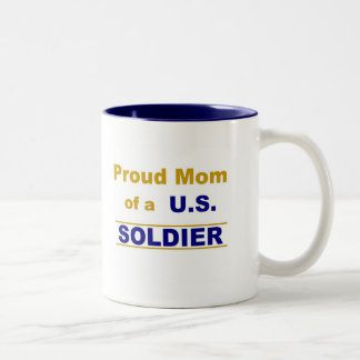 proud mom of a us soldier Two-Tone coffee mug
