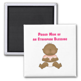 Proud Mom of an Ethiopian Blessing girl 2 Inch Square Magnet