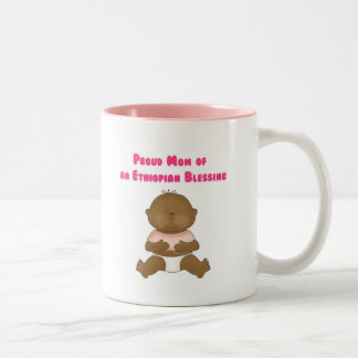 Proud Mom of an Ethiopian Blessing girl Two-Tone Coffee Mug