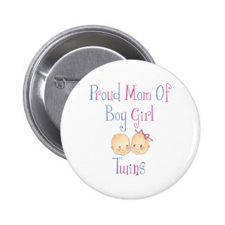 Proud Mom Of Boy Girl Twins Pinback Button