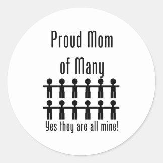 Proud Mom of Many -  12 kids Classic Round Sticker