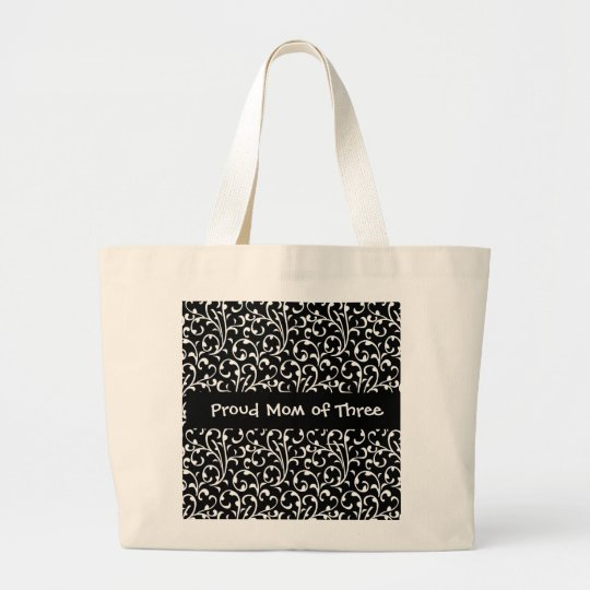 Proud Mom of Three Black and White Swirls W1345 Large Tote Bag