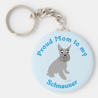 Proud Mom to my Schnauzer Basic Round Button Keychain