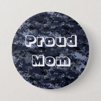 Proud Mom U.S. Military Blue Camouflage Button