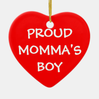 Proud Momma's Boy Double-Sided Heart Ceramic Christmas Ornament