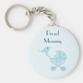 proud Mommy. Baby and Mommy Bluebirds Basic Round Button Keychain