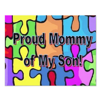 "Proud Mommy of My Son 4.25"" X 5.5"" Invitation Card"