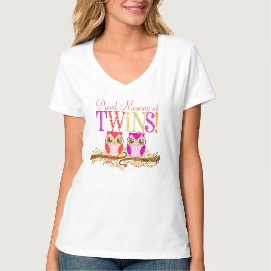 Proud Mommy of Twins! Cute Baby Girl Owls Shirt