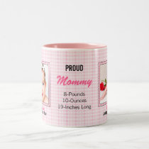 Proud Mommy Pink Polka Dots with Two Baby Photos Two-Tone Coffee Mug
