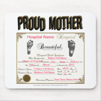 Proud Mother Birth Certificate_Mousepad Mouse Pad