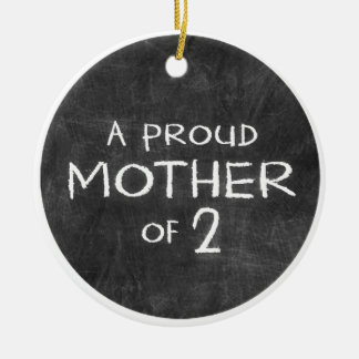 proud mother of 2 Double-Sided ceramic round christmas ornament