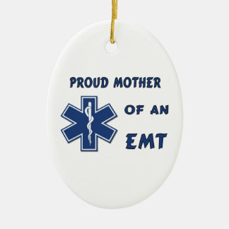 Proud Mother Of An EMT Double-Sided Oval Ceramic Christmas Ornament