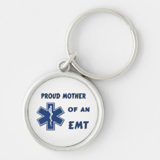 Proud Mother Of An EMT Silver-Colored Round Keychain