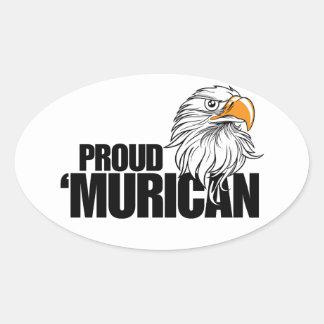 Proud MURICAN Oval Sticker