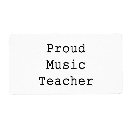 Proud Music Teacher Shipping Label