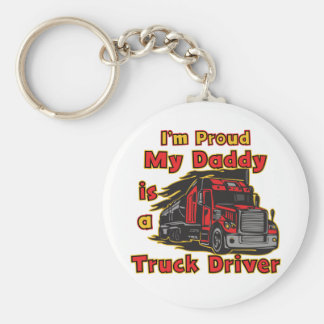 Proud My Daddy is a Truck Driver Basic Round Button Keychain
