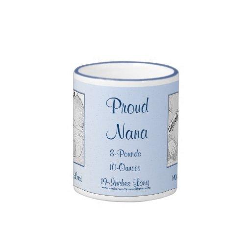 Proud Nana Blue New Baby Personalized Mug